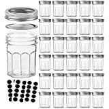 VERONES Mason Jars Canning Jars, 6 OZ Pudding Jelly Jars With Regular Lids and Bands, Ideal for Jam, Honey, Wedding Favors, Shower Favors, Baby Foods, DIY Magnetic Spice Jars, 30 PACK
