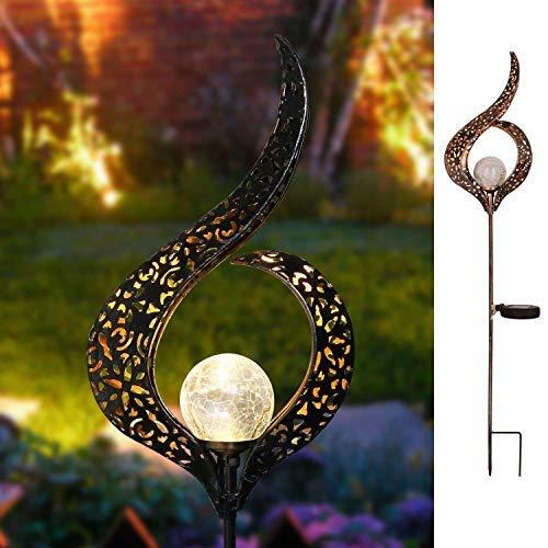 Garten-Solarleuchten im Freien,TakemeEuro Metall Blume LED Stake dekorative Lichter für Terrasse, Weg, Hof, Rasen … (Blume)