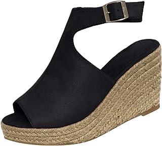 comprar comparacion Luckycat Sandalias de Mujer Plataforma Costura Peep Toe Cuñas Hasp Sandalias Zapatos Flatform Sandalias Mujer Cuña Alparga...