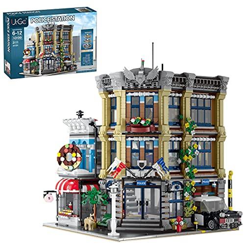 Myste Mattoncini modulari per casa 3111 + mattoncini a morsetto Casa a 3 strati Stazione di polizia, Architettura europea modulare, Architettura modello Casa, compatibile con Lego