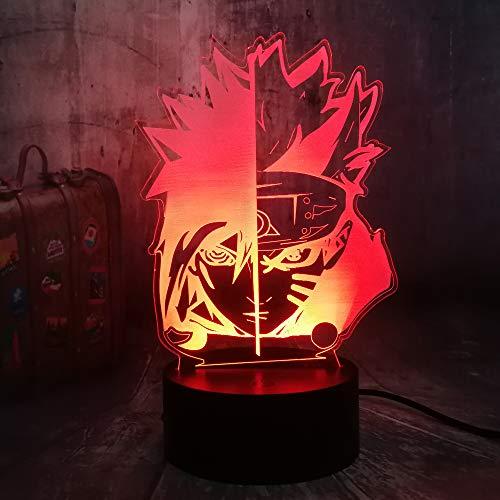 Naruto Cartoon Nachtlicht Anime Japan Luster Sasuke Face LED Birne 7 Farbwechsel Batterie Power Baby Moon Tischlampe für Kinderzimmer Atmosphäre Illusion Lampe