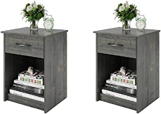 Set of 2 Nightstand MDF End Tables Pair Bedroom Table Furniture Multiple Colors (Gray) (2 Sets, Rodeo Oak (Set of 2))