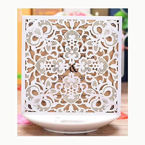 XLYAN Einladungskarten Hochzeit Romantische Hochzeit Hochzeitseinladungen Lasergeschnittene Blanko Bedruckbarem Papier Und Umschlägen,50 Sätze,White