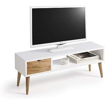 Mesa televisión, Mueble TV salón diseño Vintage, cajón y Estante ...
