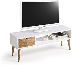 Mesa televisión, Mueble TV salón diseño Vintage, cajón y Estante, Color Blanco. Medidas 100 cm x 40 cm x 30 cm…