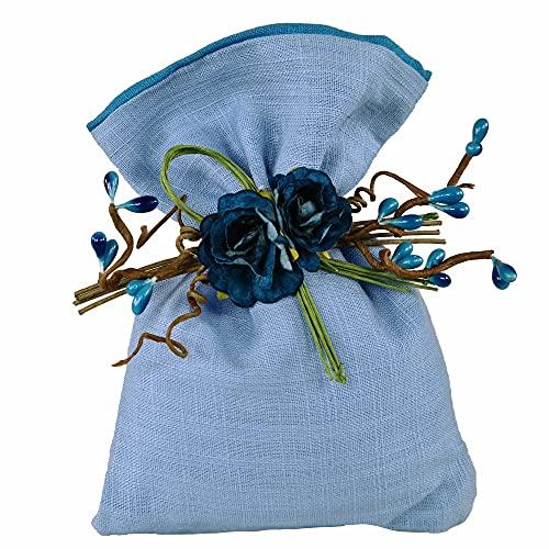 STEFANAZZI Juego completo de 20 bomboneras para boda, graduación, cumpleaños, nacimiento, confirmación, comunión, juego con adornos de algodón y bolsitas transparentes para peladillas