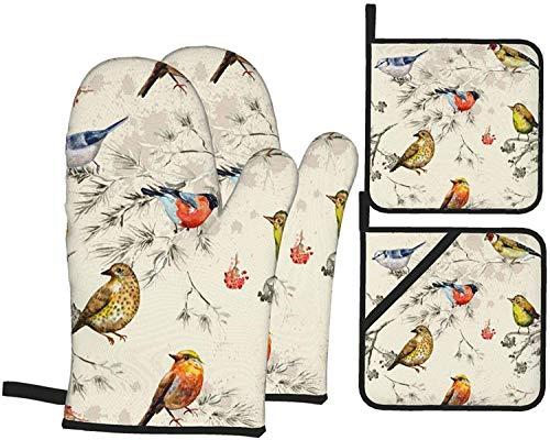 British Royal Court Birds - Juego de 4 manoplas y soportes para ollas,almohadillas calientes resistentes con guantes de poliéster antideslizantes para barbacoa para cocina,cocinar,hornear,asar a la p