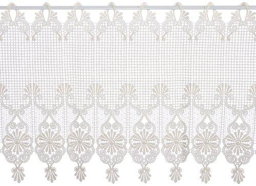 Plauener Spitze by Modespitze, Store Bistro Gardine Scheibengardine mit Stangendurchzug, hochwertige Stickerei, Höhe 45 cm, Breite 144 cm, Creme