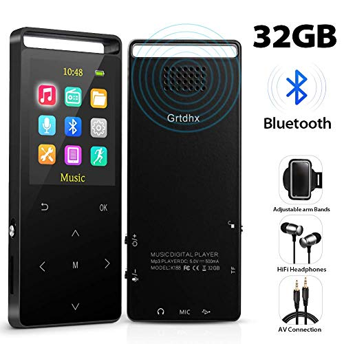 MP3 Player,32GB MP3 Player with Bluetooth,Portable Bluetooth Lossless MP3 Music Players, Digital Audio Music Player with FM Radio/Voice Recorder, Expandable up to 128G by TF Card