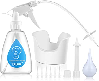 Ear Wax Removal Tool with FDA Certificate, TXDUE Ear Wax Removal Kit Including Ear Washer Bottle, Extra Hard Nozzles, Ear Basin, Bulb Syringe, Thread Cap, 6 Soft Disposable Tips