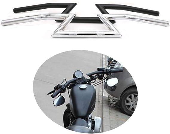 Yuqinn Motorradteile Universal Motorrad Lenker 7 8 22mm Z Bar For Harley For Honda For Yamaha For Kawasaki Suzuki Chopper Bobber Cafe Racer Schwarz Chrom Color Black Auto