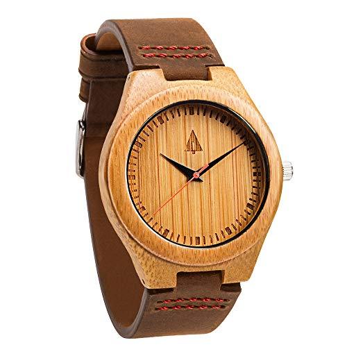 Treehut Men's Wooden Bamboo Watch with Genuine Brown Leather Strap Quartz Ana.