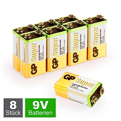 GP 9V Block Batterien (6LR61, MN1604, 9V E-Block) 9 Volt Block Super Alkaline, geeignet für vielseitige Anwendungen (8 Stück Blockbatterien 9V in briefkasten-geeigneter Verpackung)
