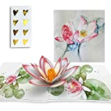 Pro.me Pop Up Card - Lotus Flower Watercolor 3D Greeting Card for Birthday, Anniversary, Mother's Day, Wedding, Valentines Day - Including 8 stickers