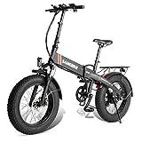 Bicicleta eléctrica de 20 pulgadas - Bici E-bicicleta de neumático de grasa con batería de litio de 48V 8AH, Frenos de alineamiento de shimano de 7 velocidades de 7 velocidades y frenos de disco de ab