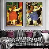 CAPTIVATE HEART Tela de Lienzo 2x60x80cm Los Bailarines de Fernando Botero Cuadros de Pintura al óle...