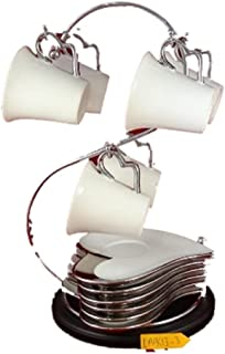 Prestige Housewares 13 Pc Tea Coffee Set with Stainless Steel Rack, Espresso Cups and Heart Shaped Saucers