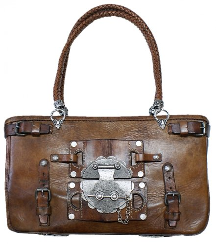 Trachtentasche Metzgertasche Tasche Handtasche Unikat original Satteltasche 1937-1939 alte Ledertasche Damentasche groß Damenhandtasche Tracht braun echt versilbert Handarbeit