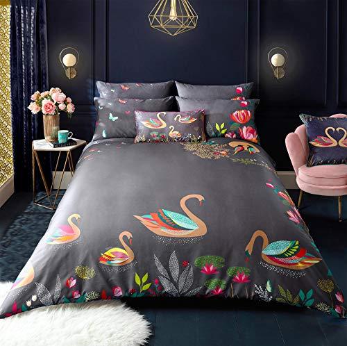 Sara Miller Juego de funda de edredón para cama doble, color gris cisne