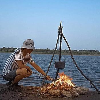 Ysislybin Trépied de camping pour feu de camp, support de pot de suspension, support de feu de camp, trépied anneau pour barbecue à monter soi-même, avec sac de rangement en cuir