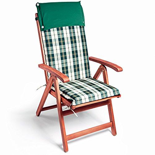 Detex Stuhlauflage Vanamo 6er Set Wasserabweisend Hochlehner Auflage Sitzauflage Stuhlkissen Grün Weiß Polsterauflage