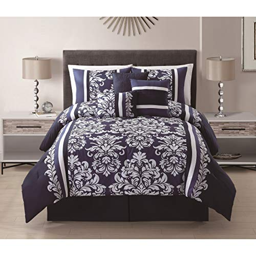 7 Piece King Taylor Navy/White Comforter Set
