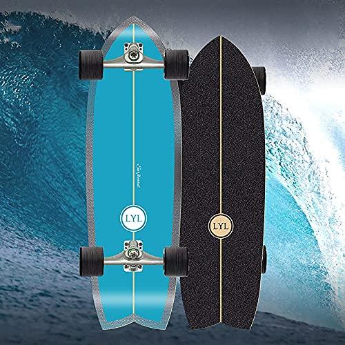 MQJ Pumping Surfskat Board Skateboard Complete Waveboard Kinder Ab 10 Jahren, 31 '' Hölzerner Kreuzer Kickboard 7-Lag Ahornholz-Deck Longboard-Jungen Professionelle, C4-Truck Abec-11 Kugellager