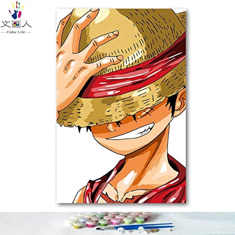 KYKDY DIY Färbungen Bilder nach Zahlen mit Farben Anime One Piece Ruffy Sauron Sanji Bild Zeichnung Malen nach Zahlen gerahmt nach Hause, 8101,40x50 mit Rahmen B07MW82K2P  | Angemessener Preis