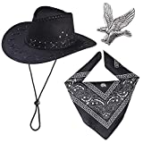 Haichen Western Cowboy Costume Accessoires Set Chapeau De Cowboy Bandana Flying Eagle Kit...