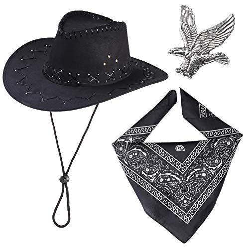 Haichen Western Cowboy Kostüm Zubehör Set Cowboy Hut Bandana Flying Eagle Pin Cowboy Outfit Kit für Halloween Party Dress Up (Schwarz)