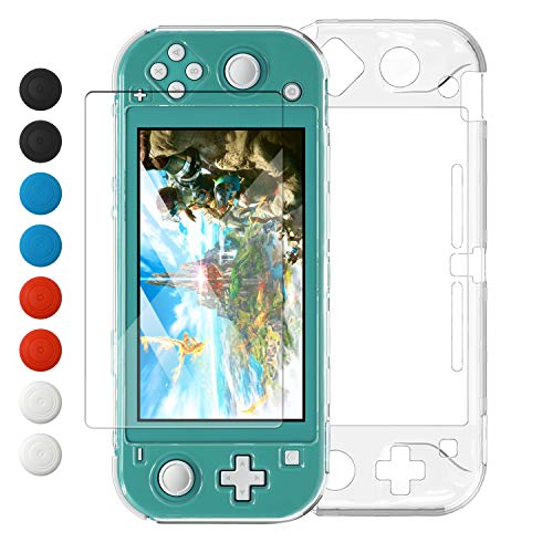 Crystal Clear Cover Case for Switch Lite, Ultra Slim Clear Hard PC Protective Case for Nintendo Switch Lite with a Glass Screen Protector and 8 Thumb Grips Caps