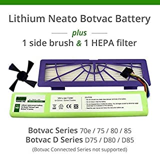 Lithium Neato Replacement Battery for Neato Botvac 70e, 75, 80, 85 and Botvac D75, D80, D85 Series, 7200mAh (Side Brush and HEPA Filter Included) - Botvac Connected Series not Supported
