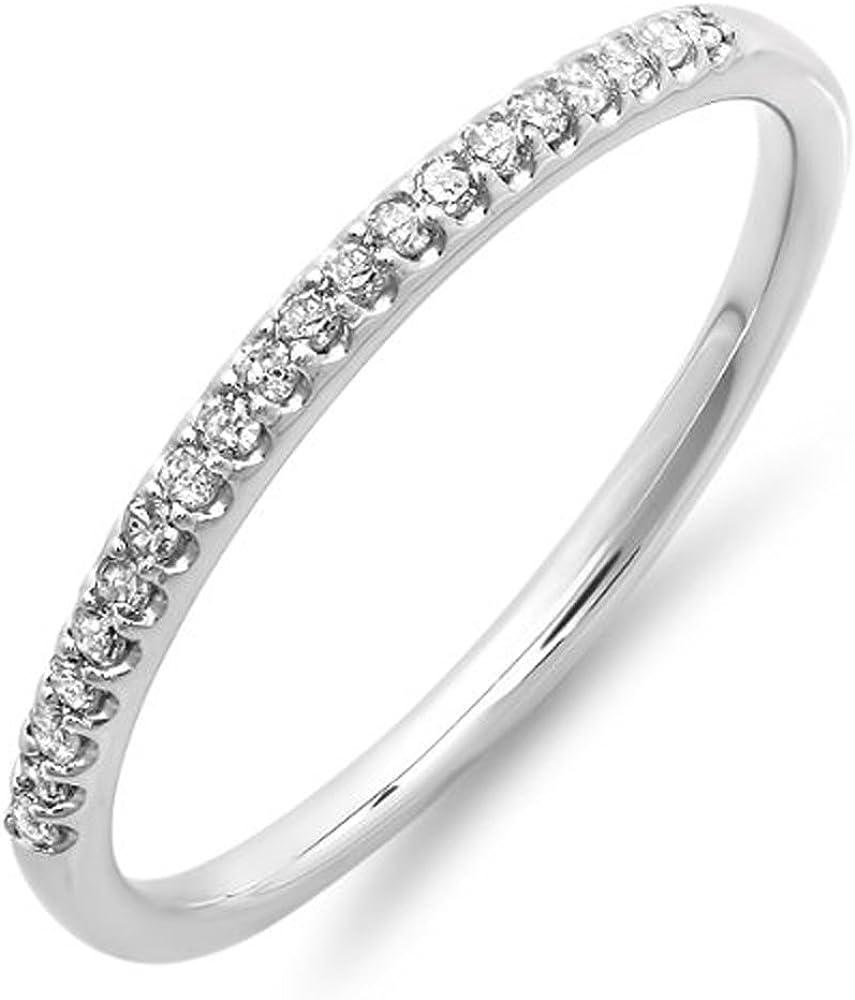 0.15 Carat (ctw) 14K Gold Round Cut Diamond Ladies Dainty Anniversary Wedding Stackable Band