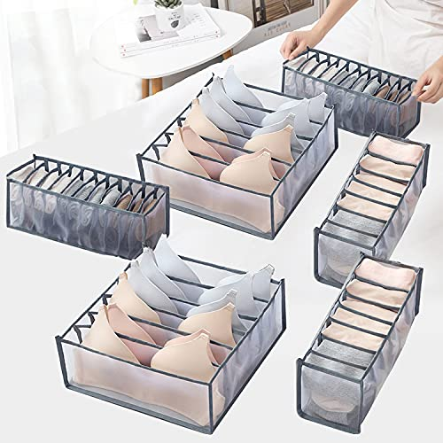 Xnuoyo 3 Pcs UnterwäSche Schubladen Organizer Faltbare UnterwäSche-Aufbewahrungsbox für Schubladen mit Großer Kapazität zur Aufbewahrung von Unterwäsche, Socken,...