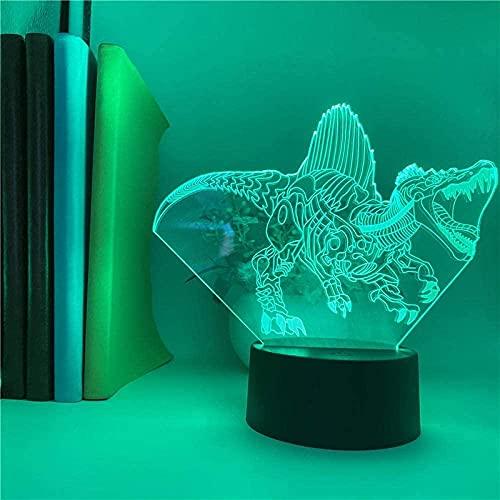 Luz nocturna infantil 3D para niños, lámpara de anime, dinosaurios, animales, con sensor de movimiento, para cumpleaños o Navidad