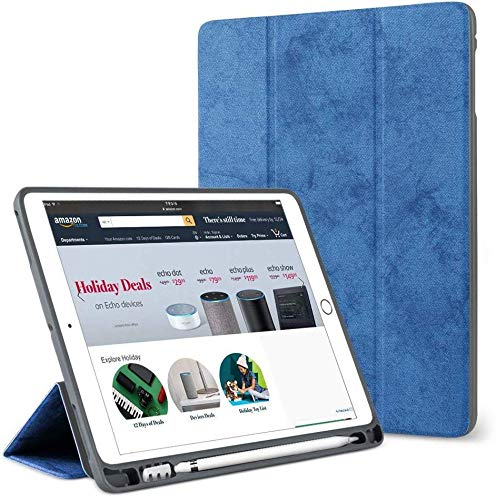 """ProElite Smart PU Flip Case Cover for Apple iPad 7th Generation / 8th Generation 2020 10.2"""" with Pencil Holder, Dark Blue"""