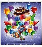 Cartoon Duschvorhang Bienen Party Kuchen Kerze Druck für Badezimmer