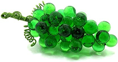 Glass Grape Cluster, Artificial Grapes in Transparent Green, Medium