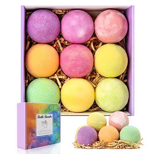 Bath Bombs Gift Set with Natural Essential Oil, 9 Pcs Spa Bath Fizzy Bomb...