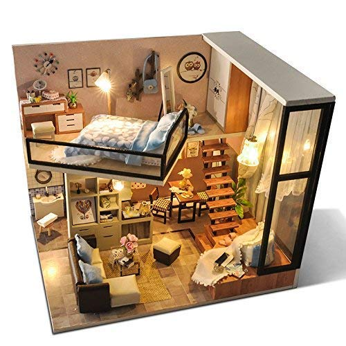 UniHobby DIY Dollhouse Kit with Dust Proof Cover 1:24 Scale Wooden DIY Miniature Dollhouse Kit Toy Gift