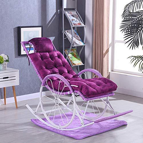 Anzkzo AußEnterrasse Garten Lounge Matte Matratze Verdicken Schaukelstuhl Auflage Ersatzpolster Weiches Gepolsterte Sitz-125x48x8cm lila