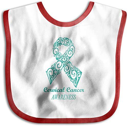 Cinta verde Concienciación sobre el cáncer de cuello uterino Niño recién nacido Niños Toalla de saliva amigable con la piel Baberos para bebés-Rojo