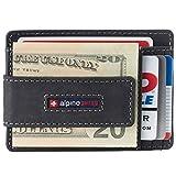 Alpine Swiss Harper Mens RFID Slim Front Pocket Wallet Magnetic Money Clip ID Card Holder Leather Charcoal