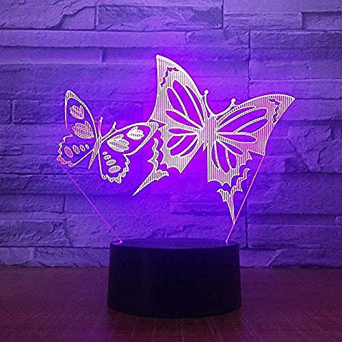 3D Vlinder Nachtlampje Illusion Lamp 7 Kleurverandering Led Touch Usb Tafel Cadeau Kinderspeelgoed Decoraties Kerst Valentijnsdag Geschenk