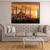 arteWOODS Estambul Musulmán Anochecer Paisaje Lienzo Impresión Arte de la Pared Pinturas para la Decoración del hogar Imagen HD Wall painting24x32 IN Sin Marco