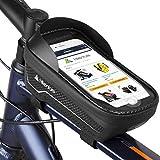 HIKENTURE Rahmentasche Fahrrad Wasserdicht mit/ohne Fingerabdrucksensor, Fahrradtasche Rahmen mit Handyhalterung, Oberrohrtasche als Handyhalter, Ideales MTB Fahrrad Zubehör für Handy(023-D)
