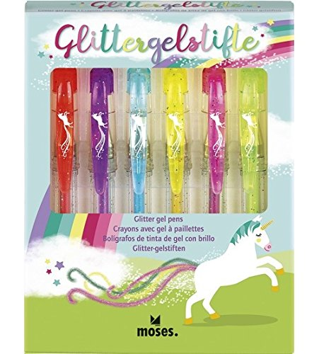 moses. 26111Unicornio Glitter Bolígrafos de Gel, bolígrafo de Gel con Purpurina, Escribir y adornar