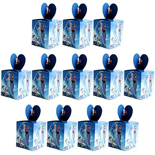 Qemsele Scatole Borse Festa per Bambini, 12 PCS Scatole Caramelle scatole di Regalo Borse Sacca Sacchettini del per Tema Riutilizzabile Festa di Compleanno Bambini bomboniare Sacchetto Festa (Frozen)