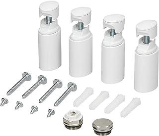 ECD Germany Soporte para radiadores toalleros de baño - Blanco - Modelos rectos y curvos - Juego de fijación para radiadores calentadores baño - Soporte de suspensión para radiadores - No electrico