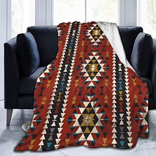 1111 Native Southwest American Indian Aztec Navajo Manta de forro polar, manta ligera súper suave y acogedora, manta cálida para sala de estar/dormitorio para todas las estaciones de 60 x 50 pulgadas